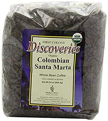 First Colony Organic Whole Bean Coffee, Colombian Santa Marta, 24-Ounce from White Coffee Corporation