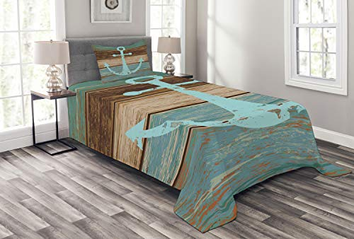 Ambesonne Anchor Bedspread, Timeworn Marine on Weathered Wooden Planks Rustic Nautical Theme, Decorative Quilted 2 Piece Coverlet Set with Pillow Sham, Twin Size, Teal Brown (Bedspreads Teal Colored)