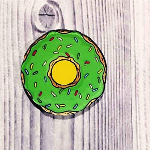 Fashion Cute Creative Lovely Collar Pin Snacks Series Badge Cartoon Brooch | Main Color - green doughnut
