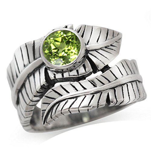 Natural Peridot 925 Sterling Silver Bypass BANANA LEAF Ring Size 9