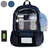 Diaper Bag Backpack With 16 Pockets! Phone Charger, Changing Pad, Stroller Straps & Insulated Bottle Pocket - Great For Mom, Dad, & Travel (Blue)