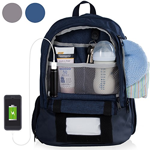 Diaper Bag Backpack With 16 Pockets! Phone Charger, Changing Pad, Stroller Straps & Insulated Bottle Pocket - Great For Mom, Dad, & Travel (Blue) by BirdRock Baby