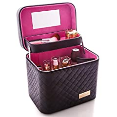 Multifunctional Makeup Case   2 colors:1,Black.2,Pink. The bag are fixed by glue, so there might be some smell. Please don't worry, keep open for 2-3 days the smell will wear off. No washing required. store your lipstick, lip gloss, makeup br...