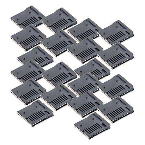 Fielect 20pcs TF Card Connector Holder Spring Loaded Push Type PCB Mount Connector 9 Pin