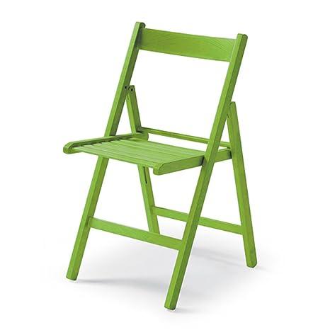 Sedie Pieghevoli Legno Colorate.Sedia Pieghevole In Legno Colorata Verde Amazon It