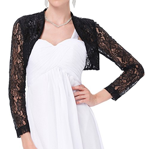 JS Fashion Vintage Dress Belle Poque Women's Long Sleeve Floral Lace Shrug Bolero Cardigan JS49