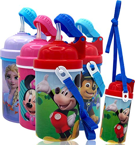 Disney Mickey Mouse Carrying Strap One Touch Water Bottles with Reusable Built in Straw – Safe Approved BPA Free, Easy to Clean, for Kids Girls Boys, Goodies Home Travel