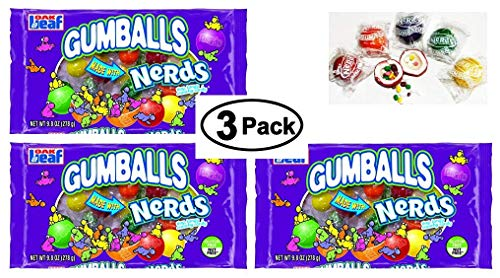 3 PACKS Gumballs With Nerds - 90 COUNT - Individually WRAPPED Gumballs With Classic Nerds Candy (Assorted Color Gumballs)