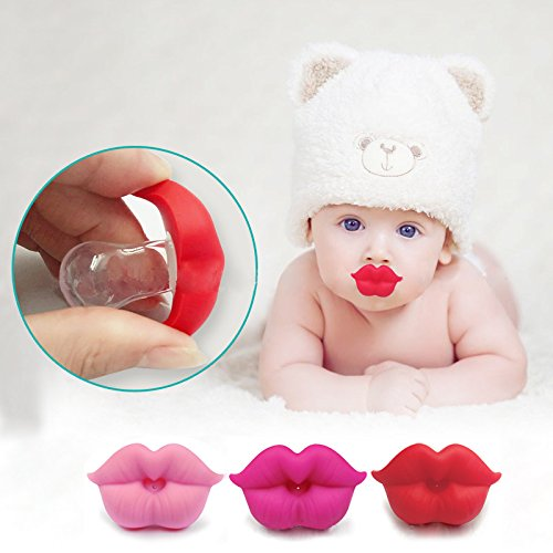 3Pcs Cute Novelty Kissable Lip Pacifiers for Newborn Infant Toddlers - Great Baby Shower Gift for Small Boys Or Girls! (Lips Pacifier)