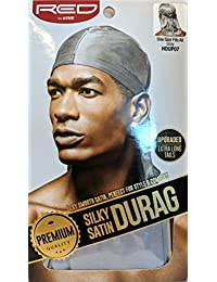 Red By Kiss Premium Quality Silky Satin Durag Extra Long Tails, Gray