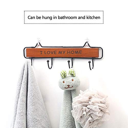 Wall-Mounted Coat Rack, 15-inch Wooden Shelving Hook Storage Key Holder with 5 Metal Hooks for Keys Towel Clothes Hats Bags Mudroom Bathroom Entryway, (2 Packs, Blue)
