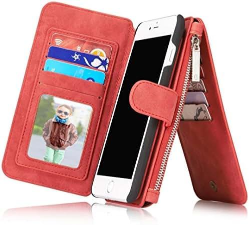Harrms Leather wallets phone case iPhone 6/iPhone 6S/iPhone 6 Plus/iPhone 6S Plus/iPhone 7/iPhone 7 Plus,12 Card Slot Series [Zipper Cash Storage] Premium Flip Wallet Case Cover With Detachable Magnetic Hard Case