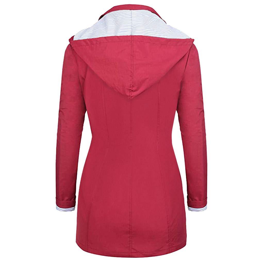 OFEFAN Rain Jackets Women Lightweight Raincoat Striped Lined Waterproof Windbreaker Active Outdoor Hooded Trench Coats