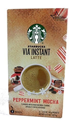 Starbucks Via Instant Latte Peppermint Mocha Coffee 5 Packet Box (3 Boxes)