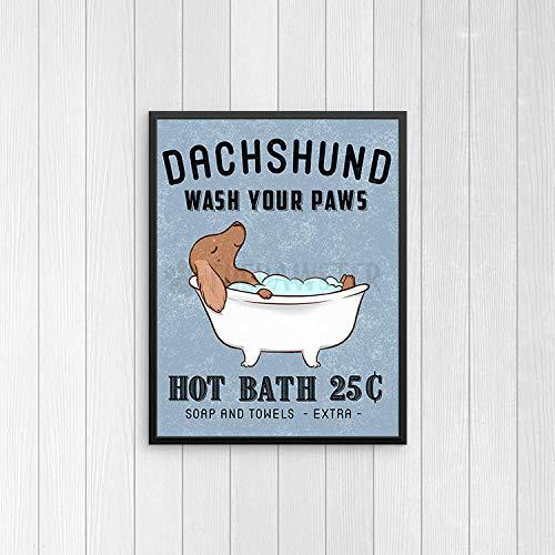 TimPrint Dachshund Bathroom Wall Decor Wiener Dog Funny Bathroom Art Print Wall Art Bathroom Signs Dog Bath Quote Wall Art Bathroom Poster Framed Print