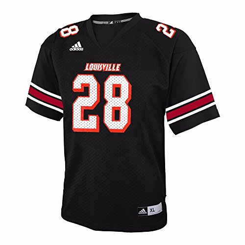 - adidas Louisville Cardinals NCAA Black Official 3rd Color #28 Replica Football Jersey for Youth (L)