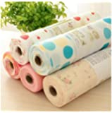 Zhide Beautiful Dot Pattern Non-Adhesive Shelf Paper Drawer Liner Sets(5 Rolls One Set) (L)