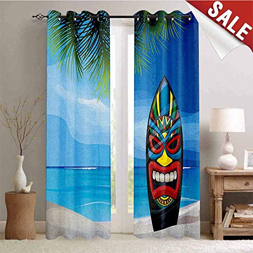 (Hengshu Tiki Bar Bath Mat Room Darkening Wide Curtains Tiki Warrior Mask Design Surfboard on Ocean Beach Abstract Landscape Surf Print Waterproof Window Curtain W108 x L108 Inch)