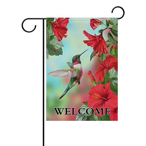 Welcome Hummingbirds Red Flower Lilie Hibiscus Polyester Garden Flag 12x18 Inches Double Sided Welcome Home House Polyester Banner Outdoor Patio Yard Garden Decorative
