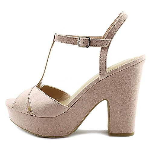 Nine West Womens Shanon Open Toe T-Strap Platform Pumps Blush y2aDBgFC