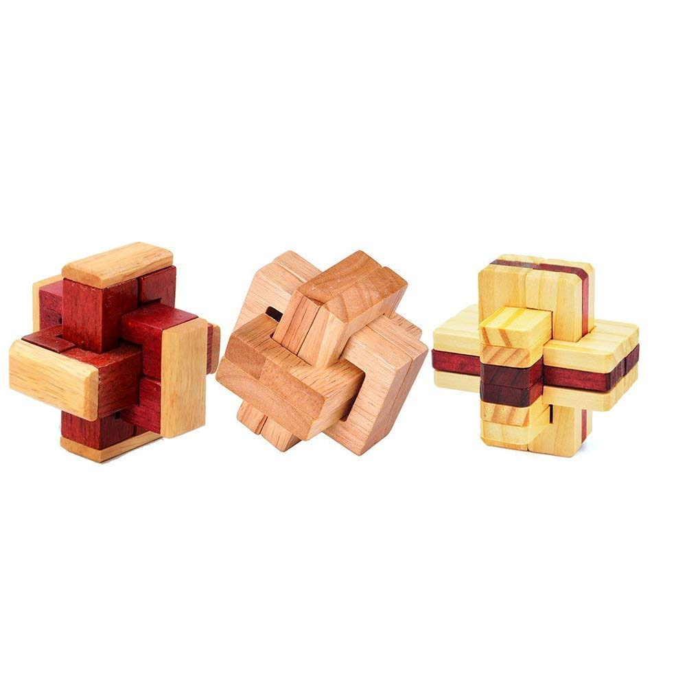 Bloc Twisted Newin Star 1 Set 3D Kongming Lock Set Casse-t/ête en Bois Puzzles Cube Classique Luban Jigsaw Jeu pour Enfants et Adultes