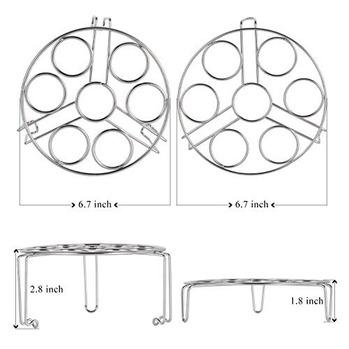 Aozita Stackable Egg Steamer Rack Trivet for Instant Pot Accessories - Fits 5,6,8 qt Pressure Cooker - 2 Pack Stainless Steel Multipurpose Rack by Aozita (Image #1)