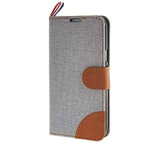 MOONCASE Denim Estilo Funda Tapa Cartera Case Carcasa Cuero Cover para Samsung Galaxy S5 Mini Gris