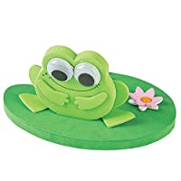 Fun Express - 3D Frog On A Lillypad Floating CK-12 - Craft Kits - Party Craft Kits - Toys - 12 Pieces