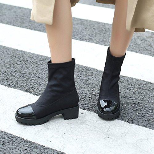 Botas Mujer con DEDE y de y de en Mujer Sandalette Cómodo Botas Invierno black otoño q4UwxPCHZn