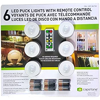 Capstone 6 led wireless puck lights with remote control white capstone 6 led wireless puck lights with remote control white aloadofball Images