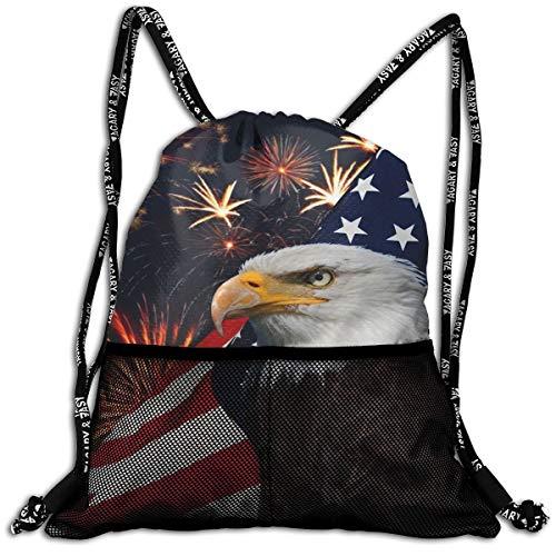 Bald Eagle American Flag Fireworks Pattern Drawstring Backpack Traveling Swim Shoulder Bags Large Capacity Beam Backpack, Home Travel Storage Use Gift For Men & Women, Girls Boys ()