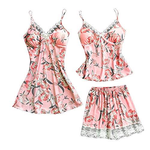 3PC Sexy Lace Satin Printing Camisole Shorts Lingerie Pajamas Sleepwear Set Pink