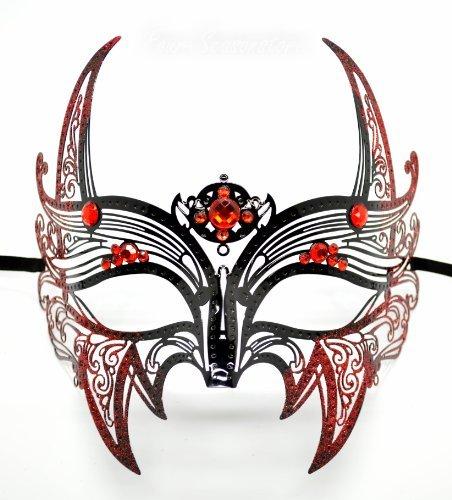New Wolverine Men's Mask Laser Cut Venetian Halloween Masquerade Mask Costume Extravagant Inspire Design - Black w/ Red Rhinestones & Glitter