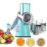 Mandoline Vegetable Slicer,Multi-Function Vegetable Fruit Cutter Speedy Rotary Round Drum Cheese Grater with 3 Stainless Steel Rotary Blades,Strong-Hold Suction,for Grinding,Cutting Silk, Slicing