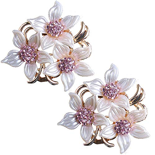 Pin Stylish Brooch (Brooch Pin for Women and Girls Stylish Flowers Brooch with Created Crystal 17.6g (2 pcs))