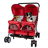 Livebest Folding 4-Wheels Pet Stroller Small Animals Carrier Easy Walk Travel Jogger with 360 Rotating Front Wheel for Two Cats or Dogs