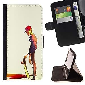 BullDog Case - FOR/Samsung Galaxy S5 V SM-G900 / - / SKATEBOARD DUDE ART STREET STYLE BOY HAT /- Monedero de cuero de la PU Llevar cubierta de la caja con el ID Credit Card Slots Flip funda de cuer