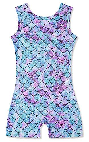 Petite Girls Sparkly Glitter Leotards 5t 6t Mermaid Scale Sleeveless Dancewear Clothes with Shorts Style Bottom Vibrant Gymnastics Uniforms for Kindergarten School