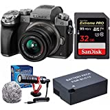 Panasonic LUMIX G7 Mirrorless Digital Camera with 14-42mm lens (Silver) & 32GB compact Microphone Bundle