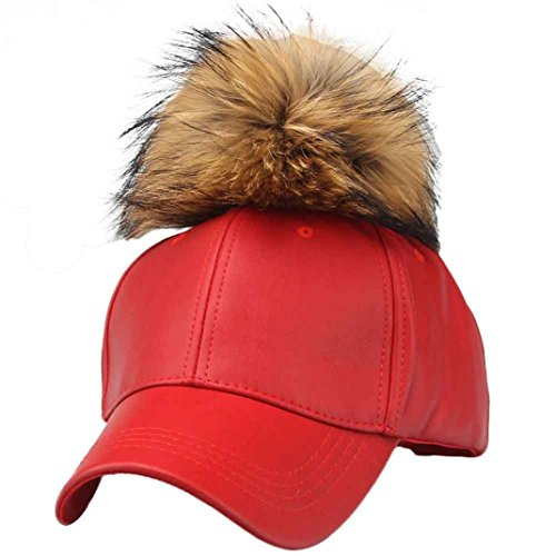 AMA(TM) Men Women Leather Raccoon Fur Ball Hip Hop Hat Baseball Cap (Red)