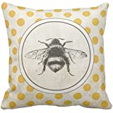 "Vintage Bee on Yellow Dots Throw Pillow case Canvas Cushion Cover 18"" one side"