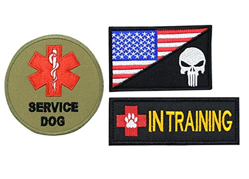 FAYOGOO Service Dog in Training Patches Embroidered US Flag Patch for Service Dog Harness Vest Jacket Saddle Bag Pouch Backpack Hat, 3 PCS, Rectangle Round