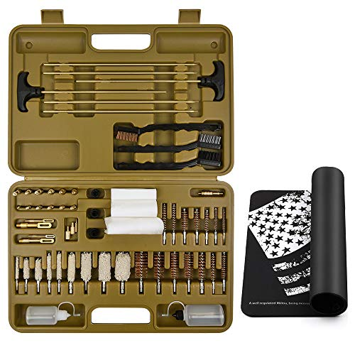 Universal Gun Cleaning Kit Supplies Solid Brass Jags Slotted Tips Bore Brush Mop Gun Cleaning Mat Rifles Shotgun Handgun Muzzle loader Pistol Firearm Cleaning use after Hunting Shooting All ()
