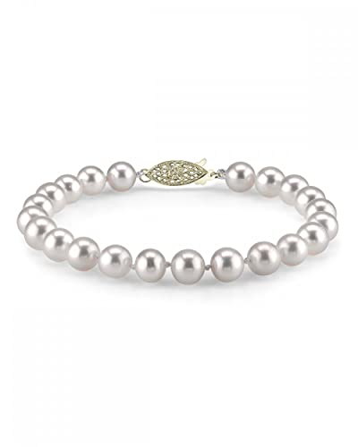 14K Gold 9-10mm White Freshwater Cultured Pearl Bracelet - AAAA Quality