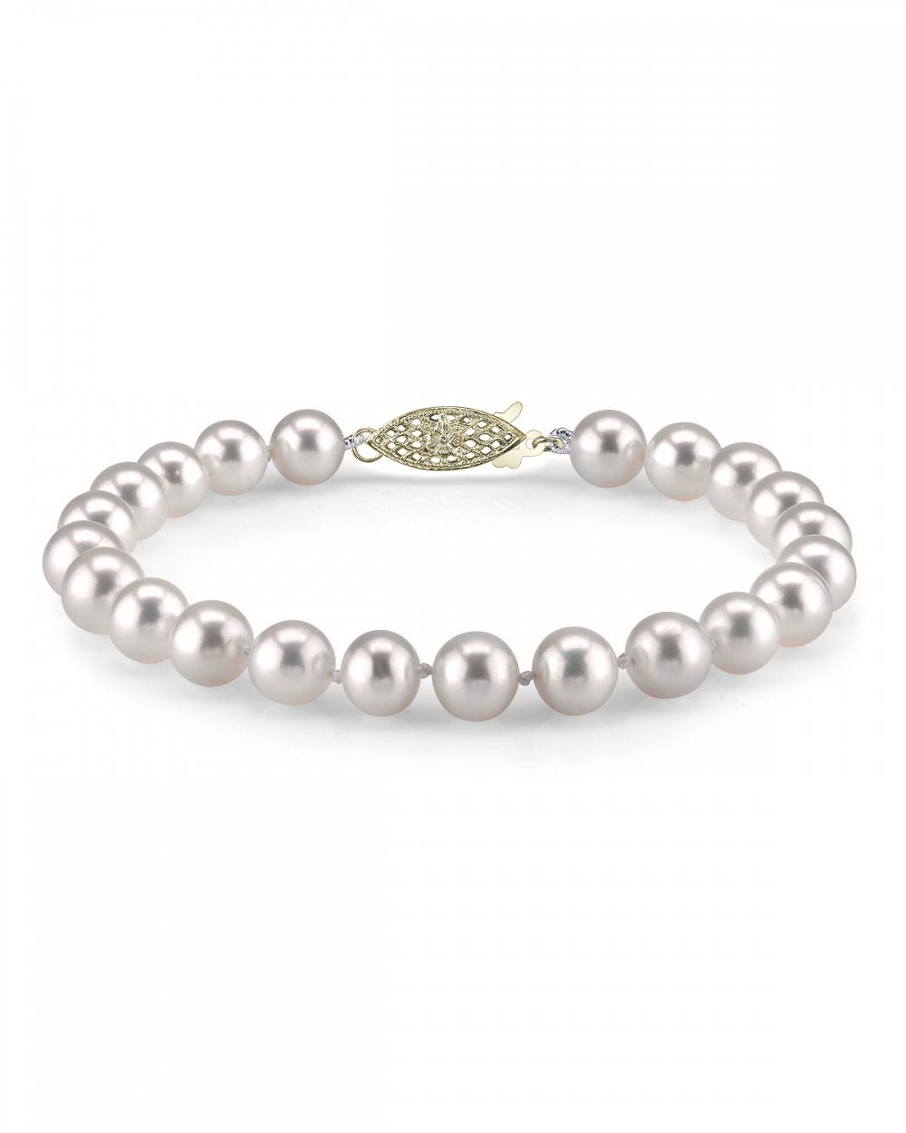 14K Gold 7-8mm AAA Quality Round White Freshwater Cultured Pearl Bracelet for Women