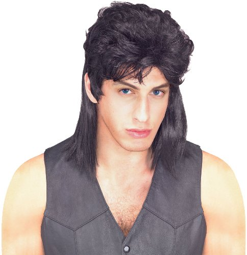 Mullet Wig Costume (Rubie's Costume Humor Black Mullet Shoulder Length Wig, Black, One Size)