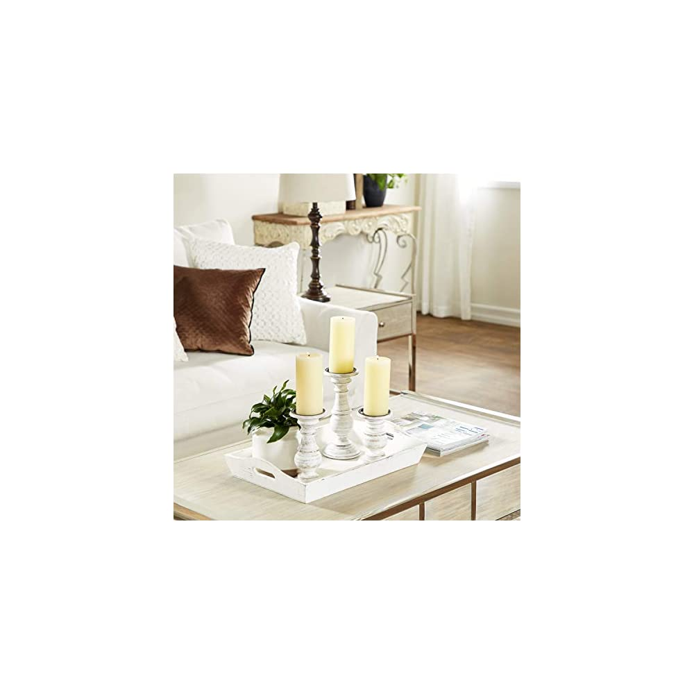 Deco 79 Distressed White Wood Candle Holders with Spiked Candle Plates, Traditional Style Table Decor, White…
