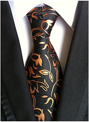 Allbebe Men's Fashion Black Jacquard Woven Suit Tie Microfiber Formal Necktie