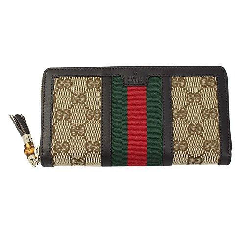 Gucci Web Beige Gg Canvas/Brown leather Long Wallet 353651 Zip Around