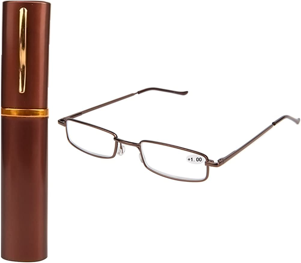 Magicub Unisex Reading Glasses 1.0 1.5+2.0+2.5+3.0+3.5+4.0 With Case Metal Frame